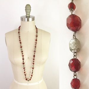 Long Ruby Red Beaded Necklace Etched Silver 1069